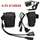 4.2V 6*18650 Battery Pack Pouch + Charger For XML-T6 LED Bike Head Lamp_US