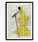 DICTIONARY ART PRINT VINTAGE ANTIQUE BOOK PAGE FRAMED GIFT POSTER Canary Lady