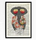 DICTIONARY ART PRINT VINTAGE ANTIQUE BOOK PAGE FRAMED GIFT Cool Elephant #75