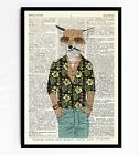 DICTIONARY ART PRINT VINTAGE ANTIQUE BOOK PAGE FRAMED GIFT Chilled Fox #73