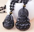 Natural Obsidian Black Jade Agate Pendant spider Buddhism Guanyin Buddha A34