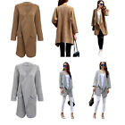 Elegant Women Turn Down Collar Pure Color Knitted Cardigan Knitwear Long Jacket