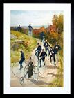 9x7 '' PENNY FHING CYCLING BICYCLE TRICYCLE VINTAGE AD FRAMED ART PRINT F97X1225