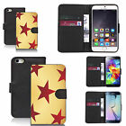 Black pu leather wallet case cover for most mobiles - five pointed star