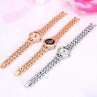 Women Lady Silver/Rose Gold Rhinestone Black Quartz Wristwatch Analog Watch