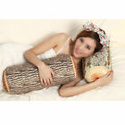 1pc Natural Cylinder Wood Design Log Pillow Soft Cushion Toy Gift Home Decor