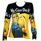 WE CAN DO IT ROSIE THE RIVETER LS T SHIRT POP ART PRINT POSTER PIN UP PAINTING *