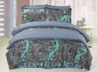 6pc Comforter & Quilt Set Reversible Blue, Black & Teal Swirl Design Queen King image