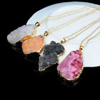 Fashion Gold Plated Irregular Agate Natural Quartz Geode Stone Pendant Necklace