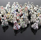 5X Czech Crystal Tibetan Silver Christmas Tree Charm Beads for European Bracelet