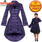 RKH108 Purple Hearts and Roses H&R Rockabilly Steampunk 50s Brocade Jacket Coat