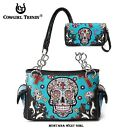 Cowgirl Trendy Western Cross Turquoise Sugar Skull Wallet & Shoulder Bag Set