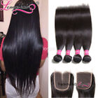 "4 Bundles With Lace Closure Brazilian Straight Virgin Hair 4""*4"" Human Hair Weft"