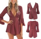 Womens Size 8 To 14 Red Romper Playsuit Dress V Neck Ex Highstreet *LICK*