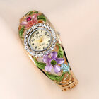 New Women's Luxury Crystal Flower Band Bangle Bracelet Analog Quartz Wrist Watch