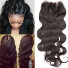 "USA Stock 3 Part Closure 4X4""Body Wave Virgin Brazilian Hair  Lace Closure"