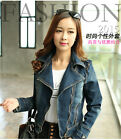 Leisure Women Jean denim Notched Lapel zipper top coat short Jacket