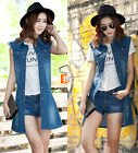 Leisure Women Punk Sleeveless Pocket Jacket denim long vest Coat top Blouse