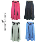 LADIES DESIGNER A-LINE LINEN SKIRT TRENDY BELT 31 INCH LENGTH ELASTIC SIZE 12-24