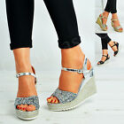 New Womens Glitter Sparkle Espadrille Wedges Ladies Platforms Ankle Shoes Size