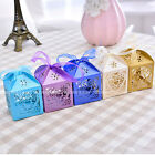 50PCS Love Heart Laser Cut Candy Box Gift Box Ribbon Wedding Party Favor US SELL