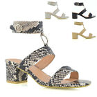 Womens Strappy Sandals Peeptoe Metal Ring Ladies Block Low Heel Party Shoes Size