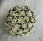 BRIDES IVORY DIAMANTE CRYSTAL WEDDING FLOWER BOUQUET POSY *CHOOSE RIBBON COLOUR*