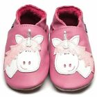 Inch Blue Luxury Leather Soft Sole Baby Shoes - Rose Pink Unicorn Motif