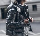 Zara Silver Winter Parka Anorak Puffa Quilted Jacket Raincoat With Hood S New