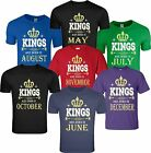 KINGS Are Born In Custom Birthday Month Funny CrewNeck T-Shirt