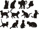 Cats Wall Art Stickers (decals) Many Colours, 4 X Sizes - 12 Different Cat Poses