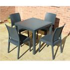 Rattan Effect Dark Grey Bistro Set - Square Table & 2 or 4 Chairs Patio Set