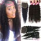"Peruvian Virgin Hair Deep Wave Human Hair Weft 3 Bundles With Lace Closure 4""*4"""