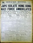 1941 WW II headline display newspaper JAPAN on verge of CAPTURE of HONG KONG
