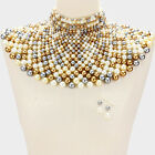 Beaded Bib Collar Necklace Earrings Egyptian Pearl Choker Chain Style