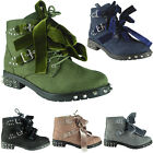 Womens Ladies Spikes Studded Lace Up Tie Up Buckle Army Combat Boots Shoes Size
