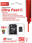 16GB MicroSD Memory Card for GOCLEVER QUANTUM 2 700 LITE Tablet 80MB/s Class 10