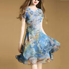 Women's Going out Street chic A Line Short Sleeve Chiffon Layered Dress Blue