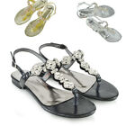 Womens Slingback Toe Post Sandals T-Bar Ladies Diamante Trim Holiday Shoes Size