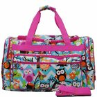 Pink and Blue Owl   Duffle Bag 3 Sizes Free Shipping Dance, Gym, Cheer Bags