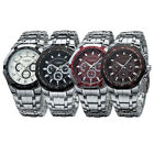 Fashion Curren Mens Silver Stainless Steel Band Analog Quartz Sport Wrist Watch