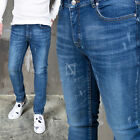 NewStylish Mens Bottoms Pants Lightly Distressed Basic Blue Denim Slim Jeans
