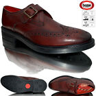 Base London Farleigh Mens Monk Strap Leather Wingtip Brogues Formal Dress Shoes