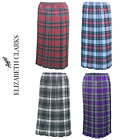 LADIES DESIGNER TARTAN PLEATED SKIRT 27 INCH LENGTH ELASTIC UK MADE SIZES 8-26