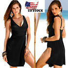 US Women Push-up One-piece Swim Dress Swimsuit Bikini Swimwear Plus Size Tankini