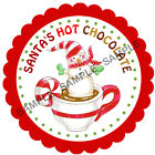 SANTA'S HOT CHOCOLATE stickers For Sweet Cones etc, 3 Sizes - Ref CHSMS 01-59