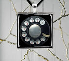 ROTARY DIAL VINTAGE BLACK PHONE PENDANT NECKLACE -tfg8X