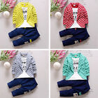 2pcs Baby Boy Long Sleeve Plaid Suits Tops+Pants Trousers Outfits Set Tracksuits
