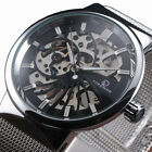 Skeleton Watches Men Stainless Steel Mesh Strap Band Mechanical Watch Thin Dial