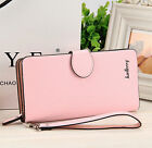 Women Ladies Pink Leather ID Bifold Clutch Long Wallet Credit Card Holder Purse